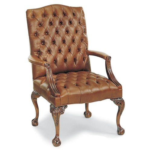 Fairfield Chairs Elegant Exposed Wood Chair wtih Button-Tufting and Paw Feet