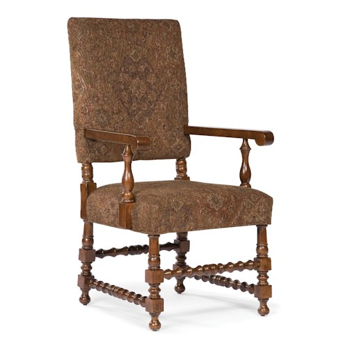 Fairfield Chairs Decoratively Turned Exposed Wood Arm Chair