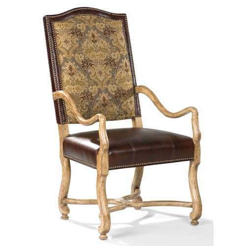 Fairfield Chairs Traditional Exposed-Wood Arm Chair with Scalloped Arms and Legs