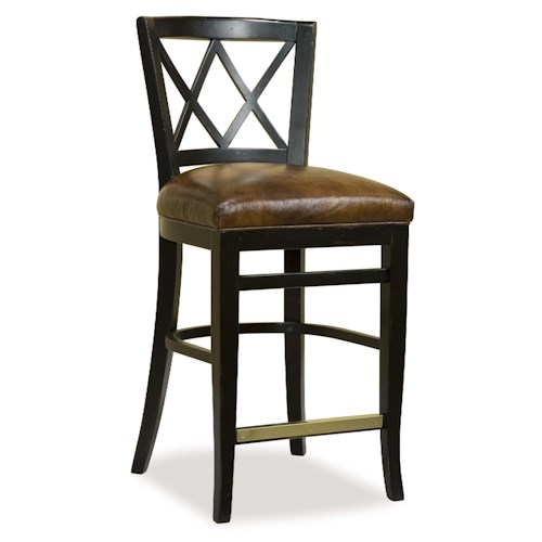 Fairfield Essentials Contemporary Counter Stool with Cross-Back Design and Upholstered Seat