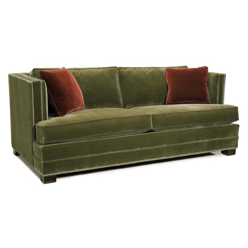 Fairfield Sofa Accents Stationary Sofa with Track Arms and Nailhead Trim