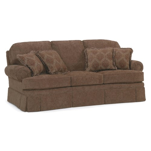 Fairfield Sofa Accents Stationary Sofa with Rolled Arms and Skirt