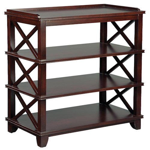 Fairfield Tables Casual Dining Room Side Table with Open Storage and Criss-Cross Pattern