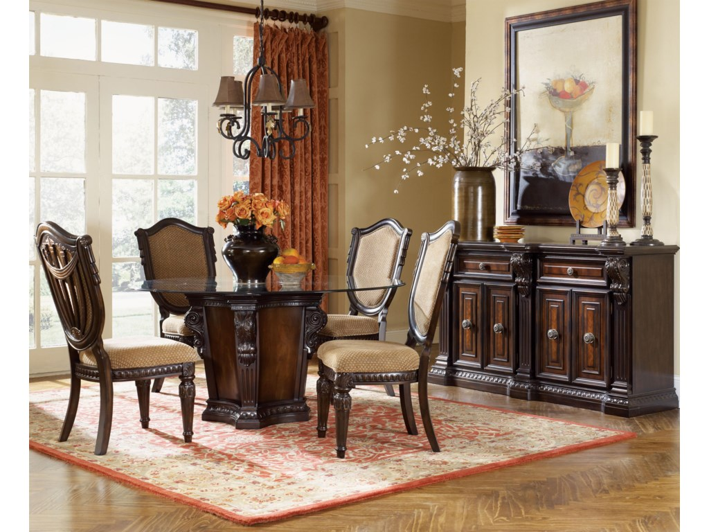 Shown in Room Setting with Round Table and Sideboard
