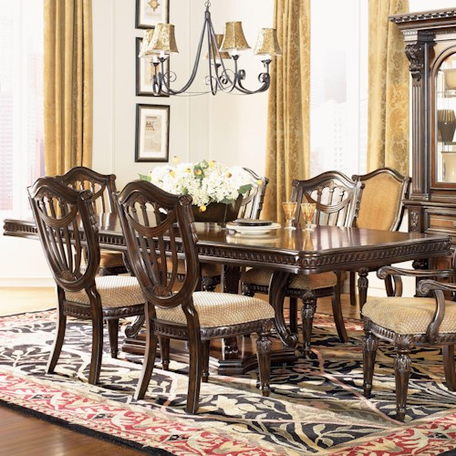 Morris Home Furnishings Grand Rapids Double Pedestal Rectangular Dining Table