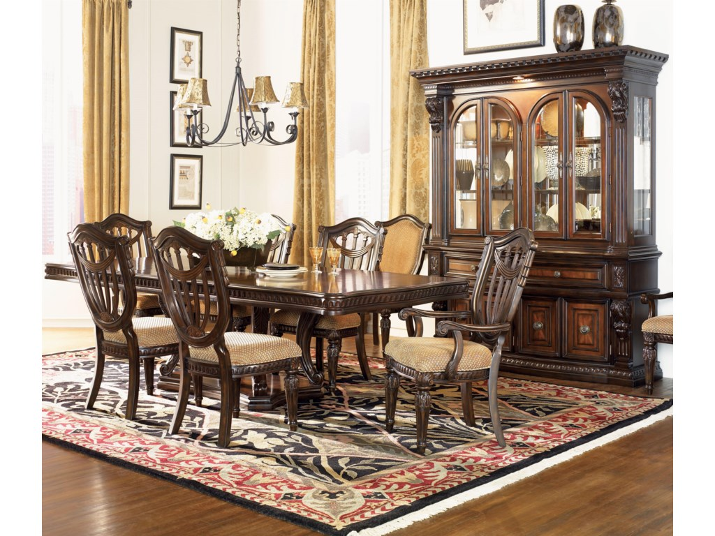 Shown in Room Setting with Hutch, Arm and Side Chairs