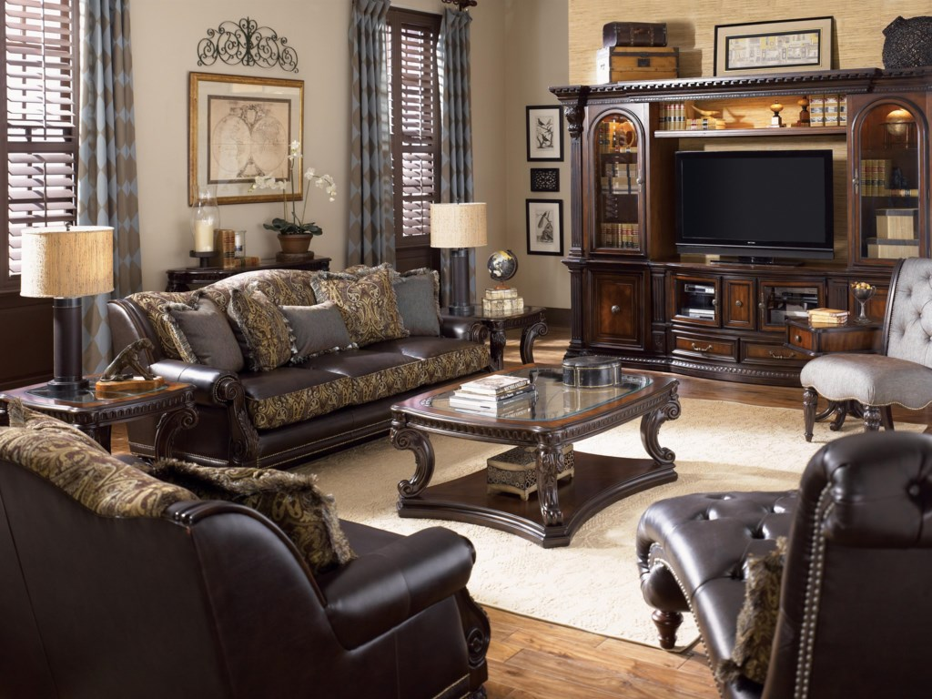 Shown as Entertainment Center in Room Setting with Cocktail Table, Sofa Table, Chairside Table and End Tables