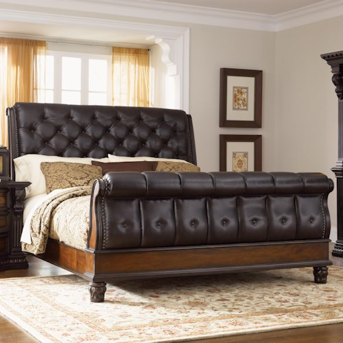 Morris Home Furnishings Grand Rapids King Sleigh Bed w/ Leather Upholstery