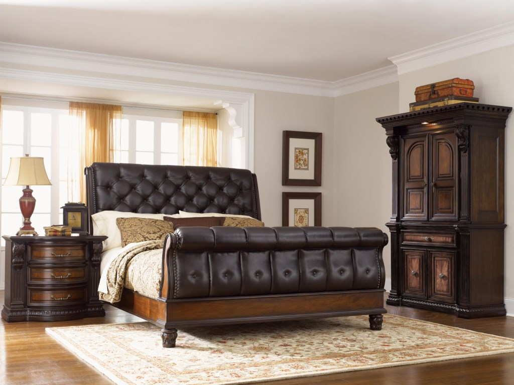 Shown in Room Setting with Nightstand and Armoire