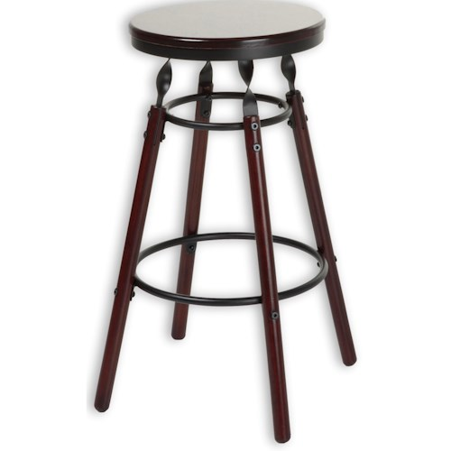 Morris Home Furnishings Metal Barstools Transitional Boston Wood and Metal Barstool