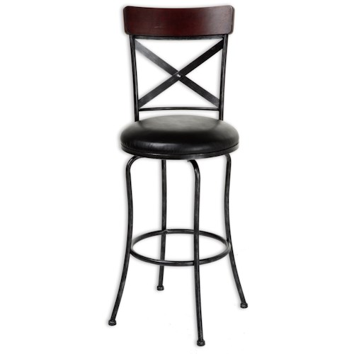 Morris Home Furnishings Metal Barstools Transitional Austin Wood and Metal Barstool