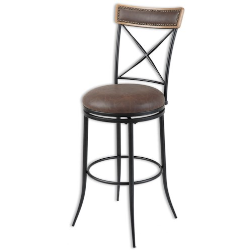 Morris Home Furnishings Metal Barstools Transitional Boise Wood and Metal Barstool
