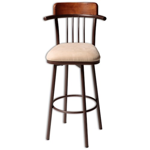 Morris Home Furnishings Metal Barstools Transitional Augusta Wood and Metal Barstool