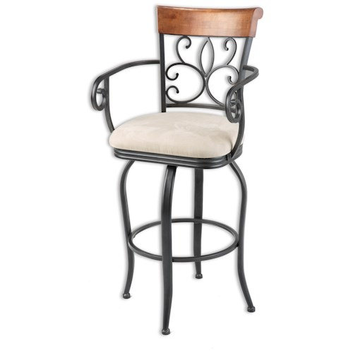 Fashion Bed Group Metal Barstools Traditional Hartford Wood and Metal Barstool