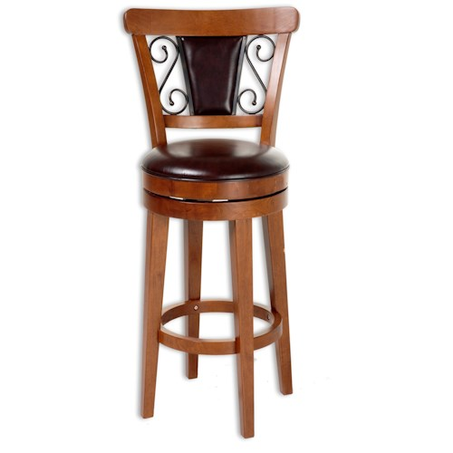 Morris Home Furnishings Metal Barstools Traditional Trenton Wood and Metal Barstool