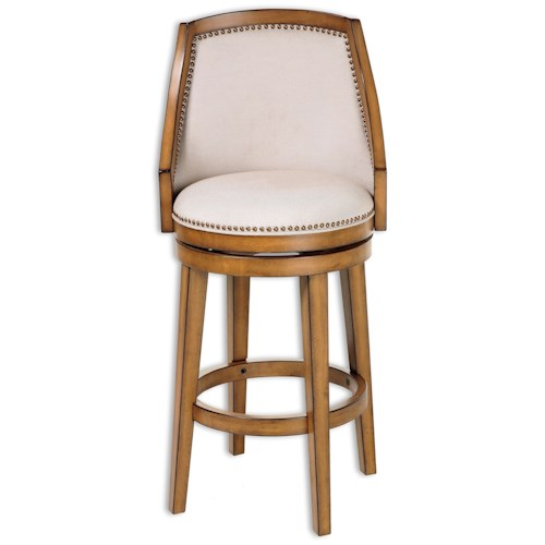 Morris Home Furnishings Metal Barstools Traditional Charleston Wood and Metal Barstool