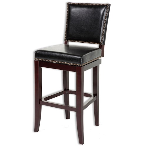 Morris Home Furnishings Metal Barstools Traditional Sacramento Wood and Metal Barstool