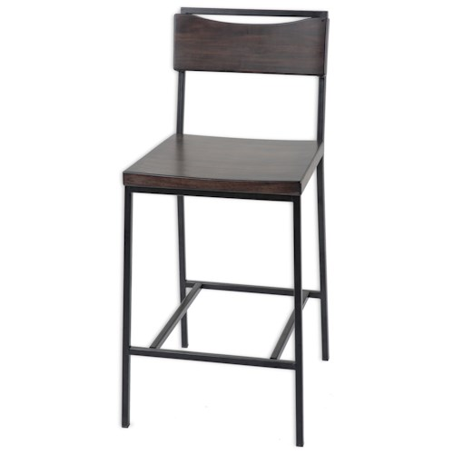 Morris Home Furnishings Metal Barstools Transitional Columbus Wood and Metal Barstool