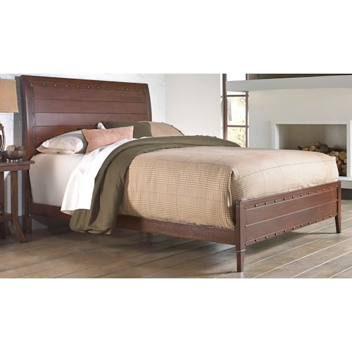 Morris Home Furnishings Metal Beds Queen Industrial Rockland Metal Ornamental Bed with Brass Studs