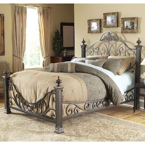 Morris Home Furnishings Metal Beds Queen Baroque Metal Bed
