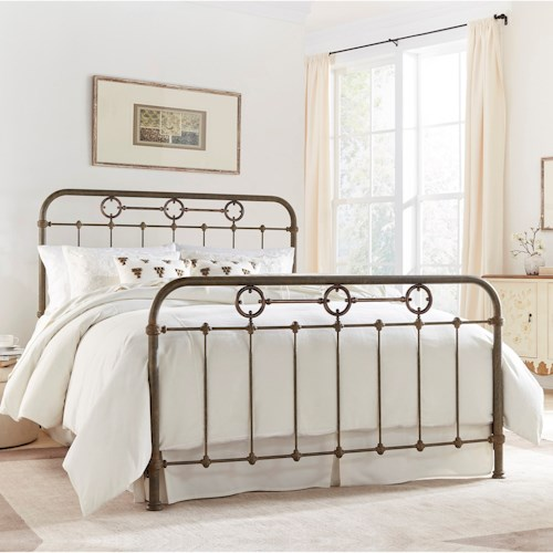 Morris Home Furnishings Metal Beds Queen Transitional Madera Metal Ornamental Bed