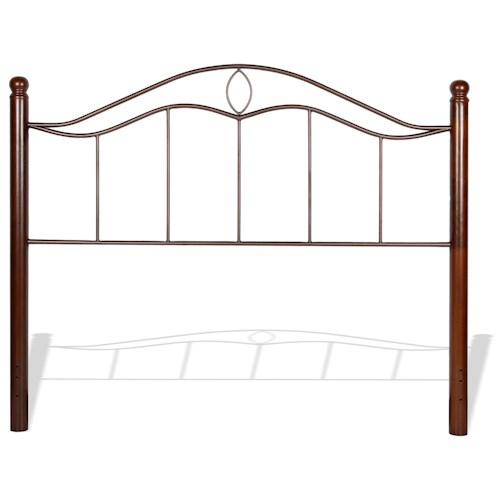 Fashion Bed Group Metal Beds King Transitional Cassidy Metal Headboard