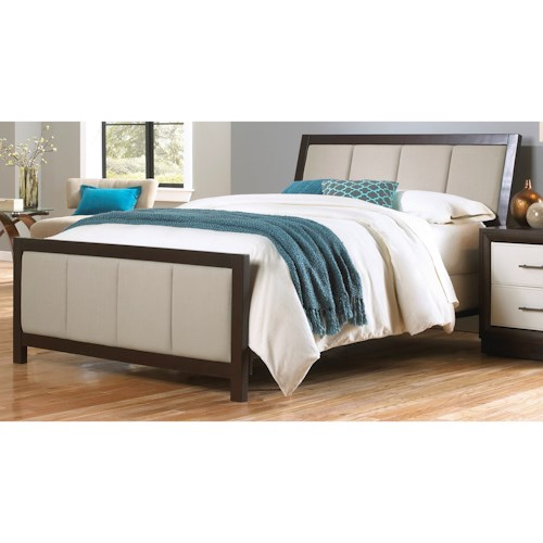 Morris Home Furnishings Upholstered Headboards and Beds Cal King Contemporary Wood and Fabric Ornamental Bed