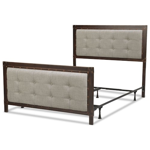 Fashion Bed Group Upholstered Headboards and Beds Queen Metal and Fabric Ornamental Bed with Nailhead Trim