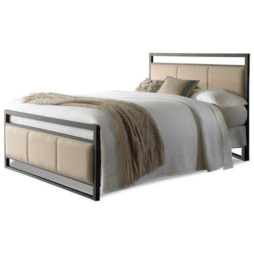 Fashion Bed Group Upholstered Headboards and Beds King Transitional Metal and Fabric Ornamental Bed