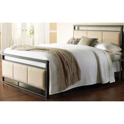 Fashion Bed Group Upholstered Headboards and Beds California King Transitional Metal and Fabric Ornamental Bed