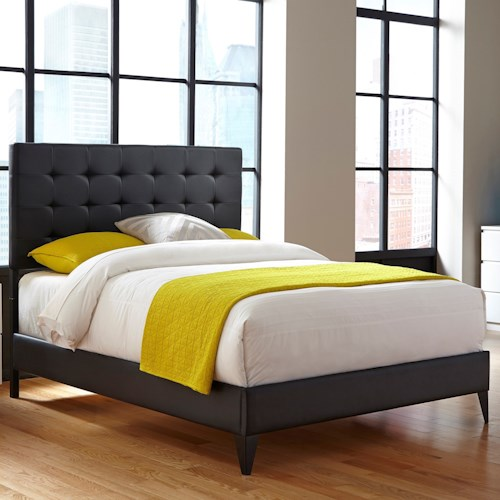 Morris Home Furnishings Upholstered Headboards and Beds California King Contemporary Metal and Fabric Ornamental Bed