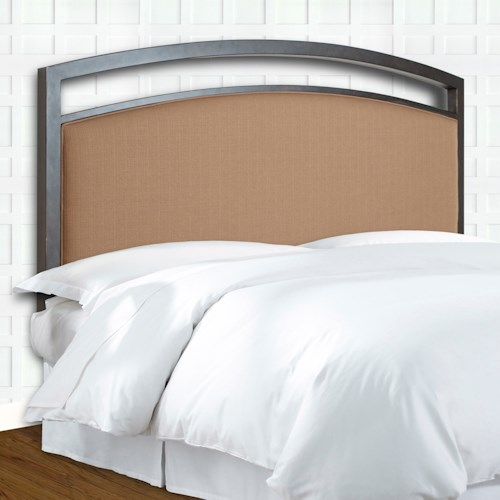 Morris Home Furnishings Upholstered Headboards and Beds Cal King Transitional Metal and Fabric Headboard