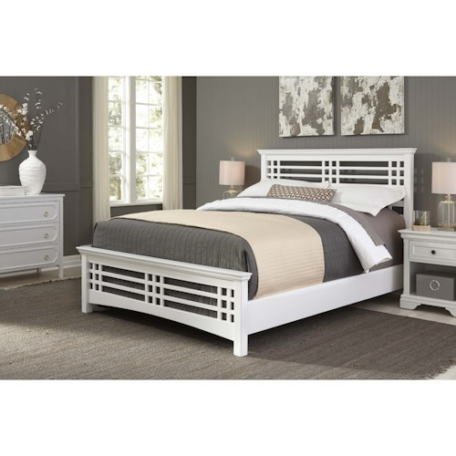 Morris Home Furnishings Wood Beds Queen Avery Mission Wood Bed in White