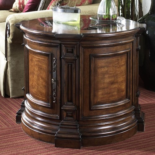 Belfort Signature Viniterra Round Commode Table with Marble Insert Top