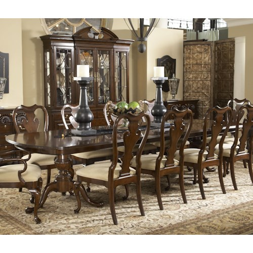 Belfort Signature Belmont Fredericksburg Rectangular Double Pedestal Dining Table