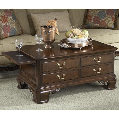 Belfort Signature Belmont Stafford Storage Cocktail Table with Tooled Leather