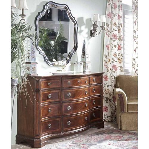 Belfort Signature Westview Traditional Triple Dresser and Shaped Mirror