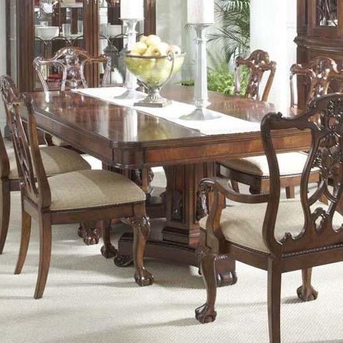 Belfort Signature Westview Dining Table with Decorative Double Pedestals