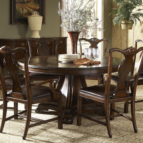 Belfort Signature Vienna Traditional Round Dining Table with Inlay