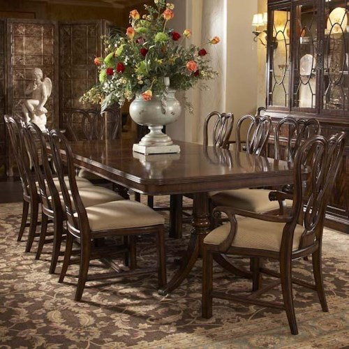 Belfort Signature Vienna 9 Piece Double Pedestal Dining Table and Ribbon-Back Chair Set