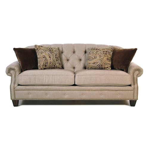 Flexsteel Champion Transitional Button-Tufted Sofa with Rolled Arms and Nailheads