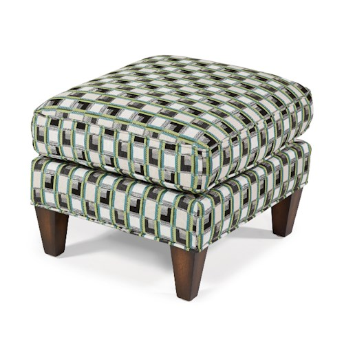Flexsteel Accents Harvard Ottoman with Exposed Wood Legs