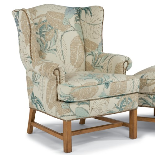 Flexsteel Accents Chancellor Wingback Chair with Nailhead Studs