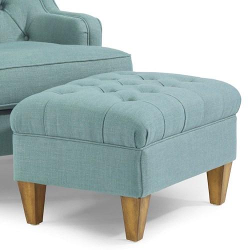 Flexsteel Accents Terrace Button-Tufted Ottoman with Tapered Legs