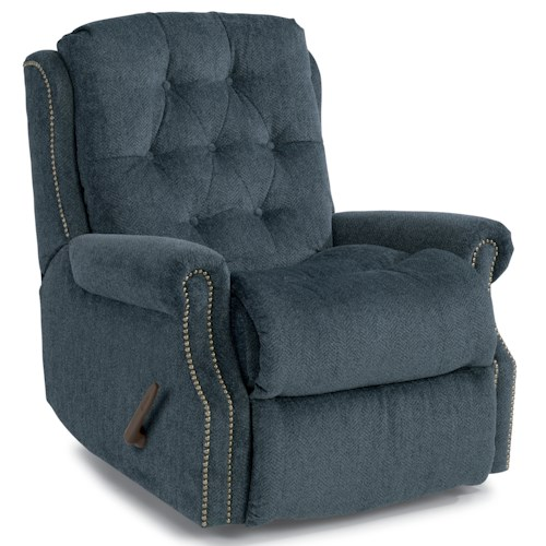 Flexsteel Accents Davidson Swivel Glider Recliner with Button Tufting and Nailhead Trim