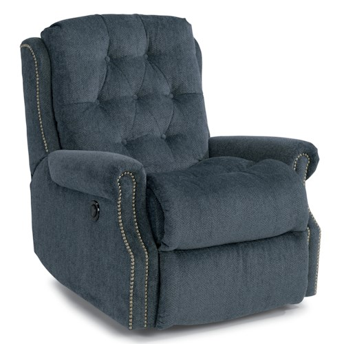 Flexsteel Accents Davidson Power Rocker Recliner with Button Tufting and Nailhead Trim