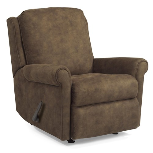 Flexsteel Accents Macy Swivel Glider Recliner with Rolled Arms and Waterfall Cushion