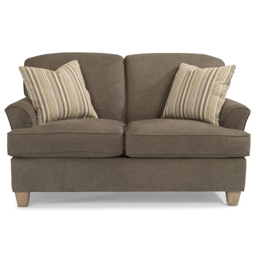 Flexsteel Atlantis Casual Loveseat with Tapered Wood Feet