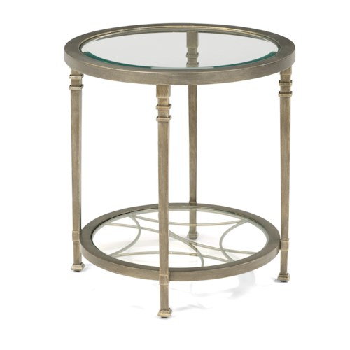 Flexsteel Atrium Transitional Lamp Table with Glass Shelves and Decorative Fretwork