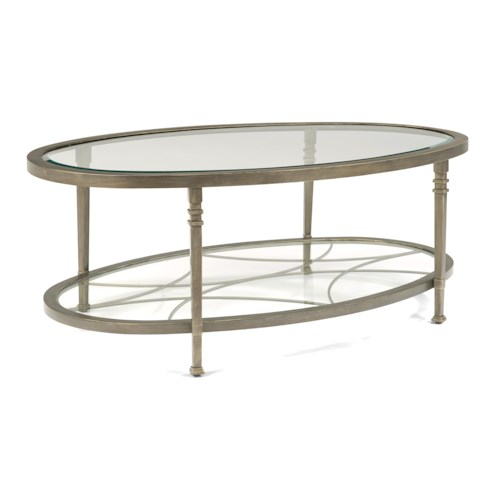 Flexsteel Atrium Transitional Oval Cocktail Table with Glass Shelves and Decorative Fretwork
